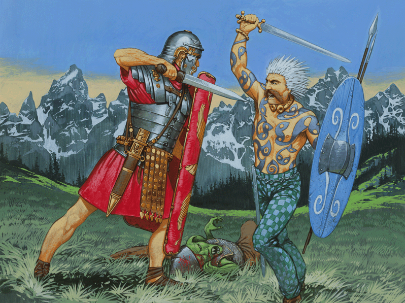 Celtic warrior fights Roman soldier