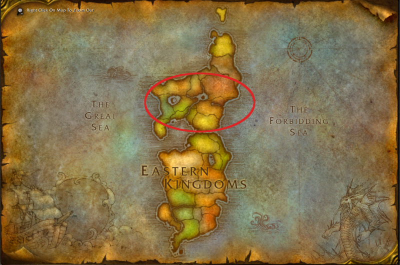 Map of Eastern Kingdoms, Lordaeron circled